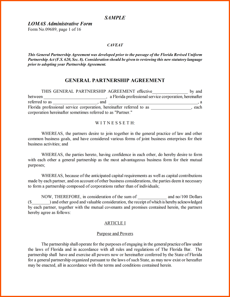 S Corp Operating Agreement Template 8 Partnership Agreement Template Word Survey Template Words