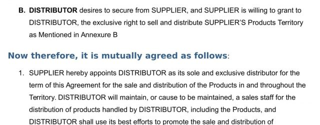 Sales And Distribution Agreement Distributor Agreement Service Agreement