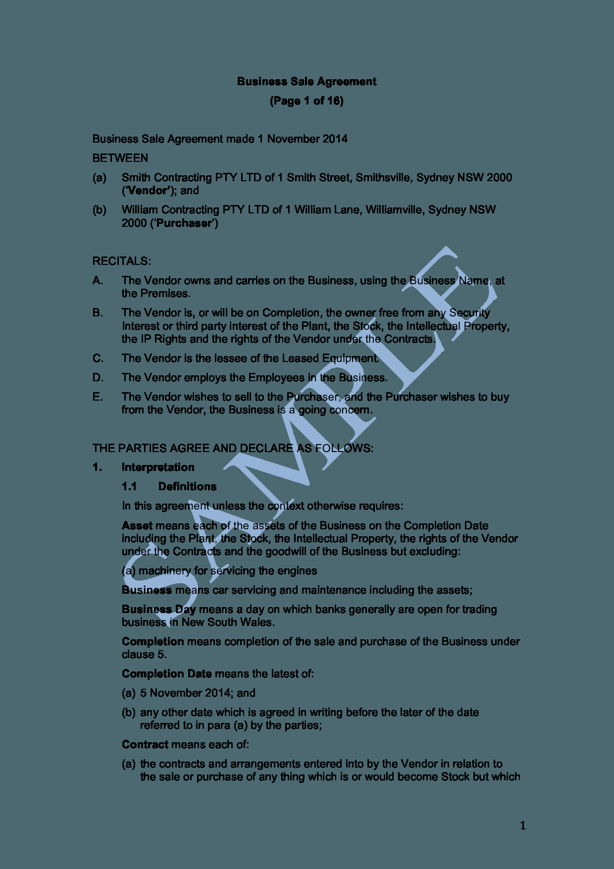 Sample Agreement For Takeover Of Business Business Sale Agreement Sample Lawpath