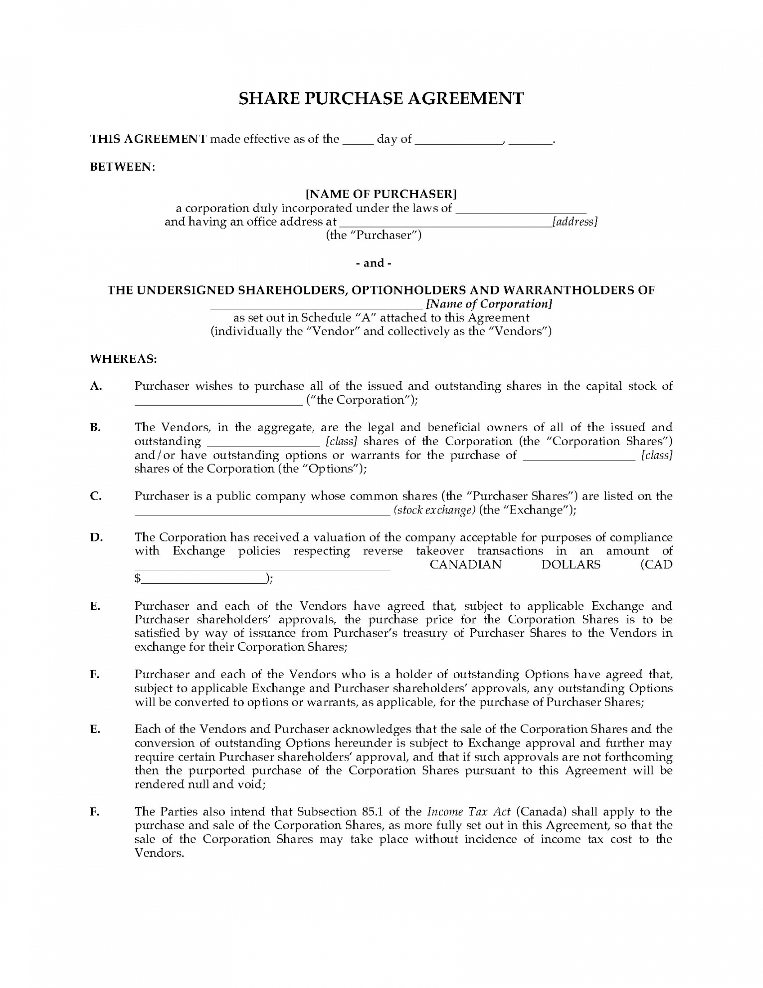 Sample Agreement For Takeover Of Business Editable Alberta Share Purchase Agreement For Reverse Takeover Legal