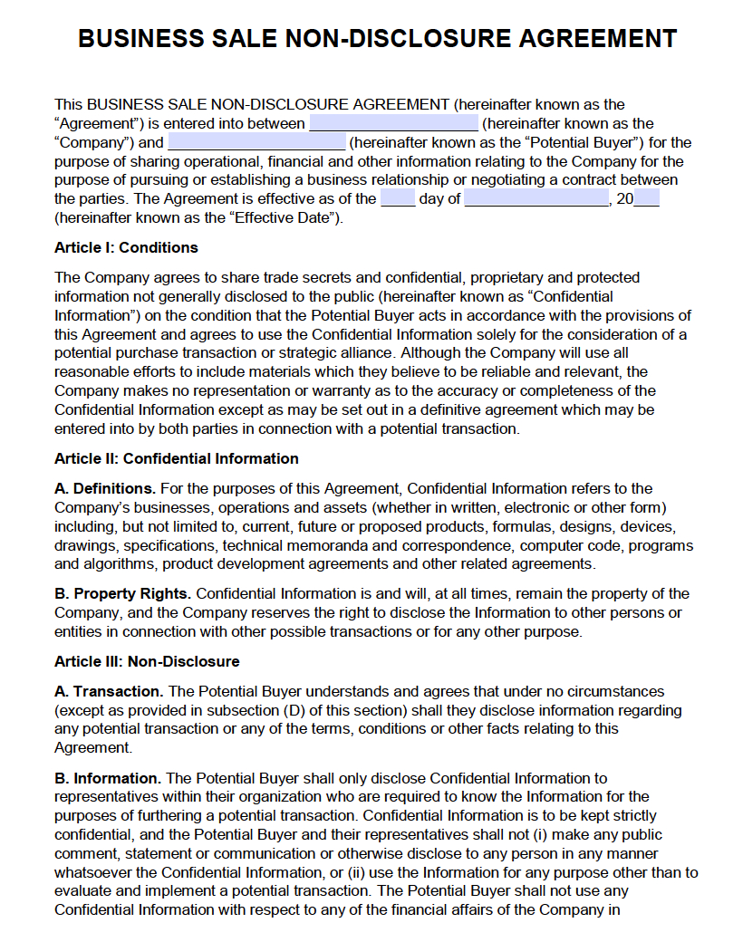Sample Agreement For Takeover Of Business Free Business Sale Non Disclosure Agreement Nda Pdf Word Docx