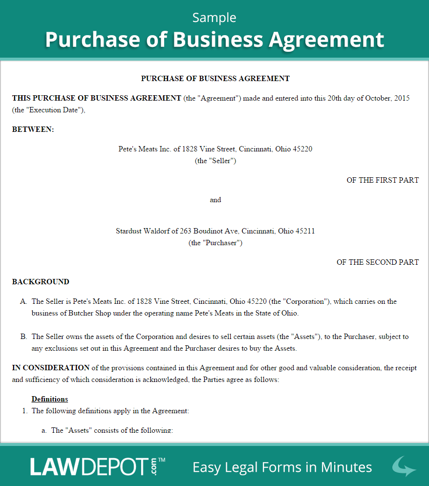 Sample Agreement For Takeover Of Business Free Purchase Of Business Agreement Create Download And Print