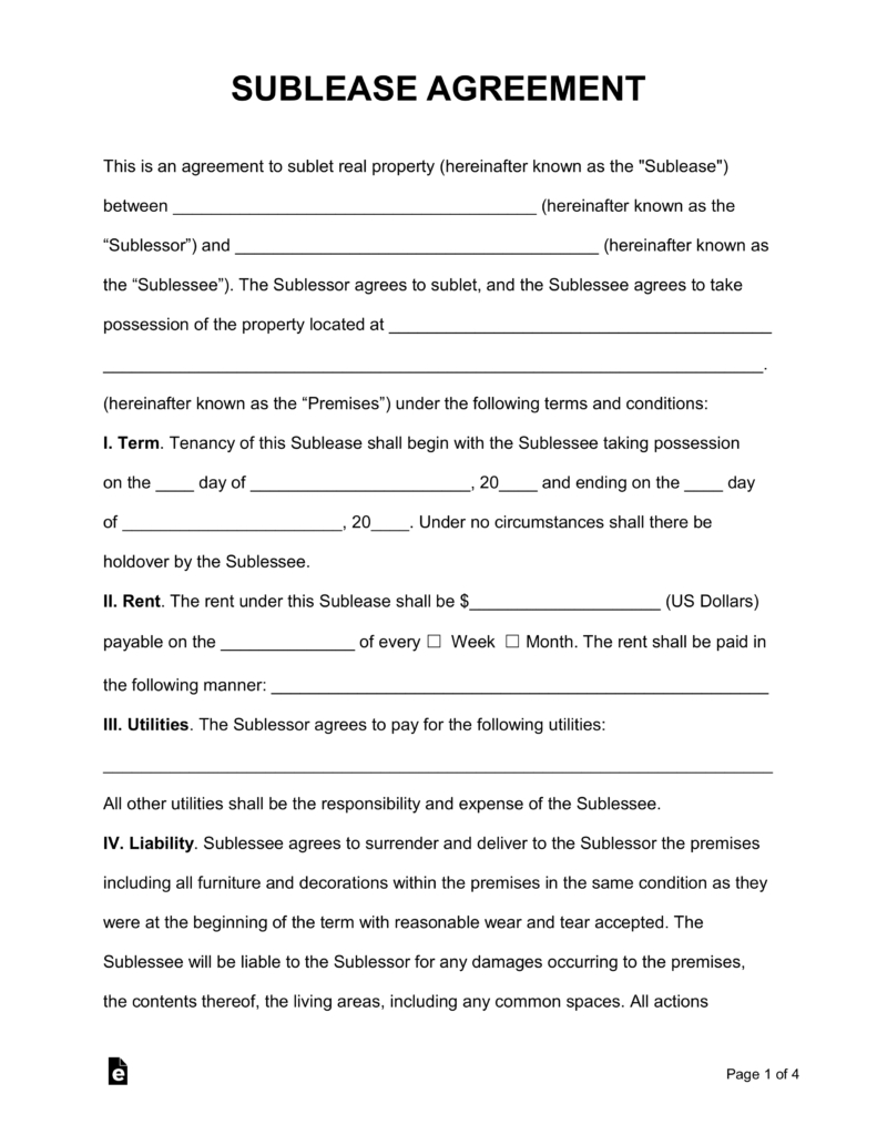 Sample Agreement For Takeover Of Business Free Sublease Agreement Template Pdf Word Eforms Free