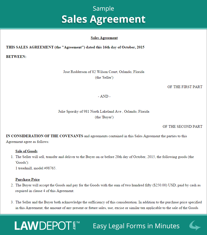 Sample Agreement For Takeover Of Business Sales Agreement Form Free Sales Contract Us Lawdepot