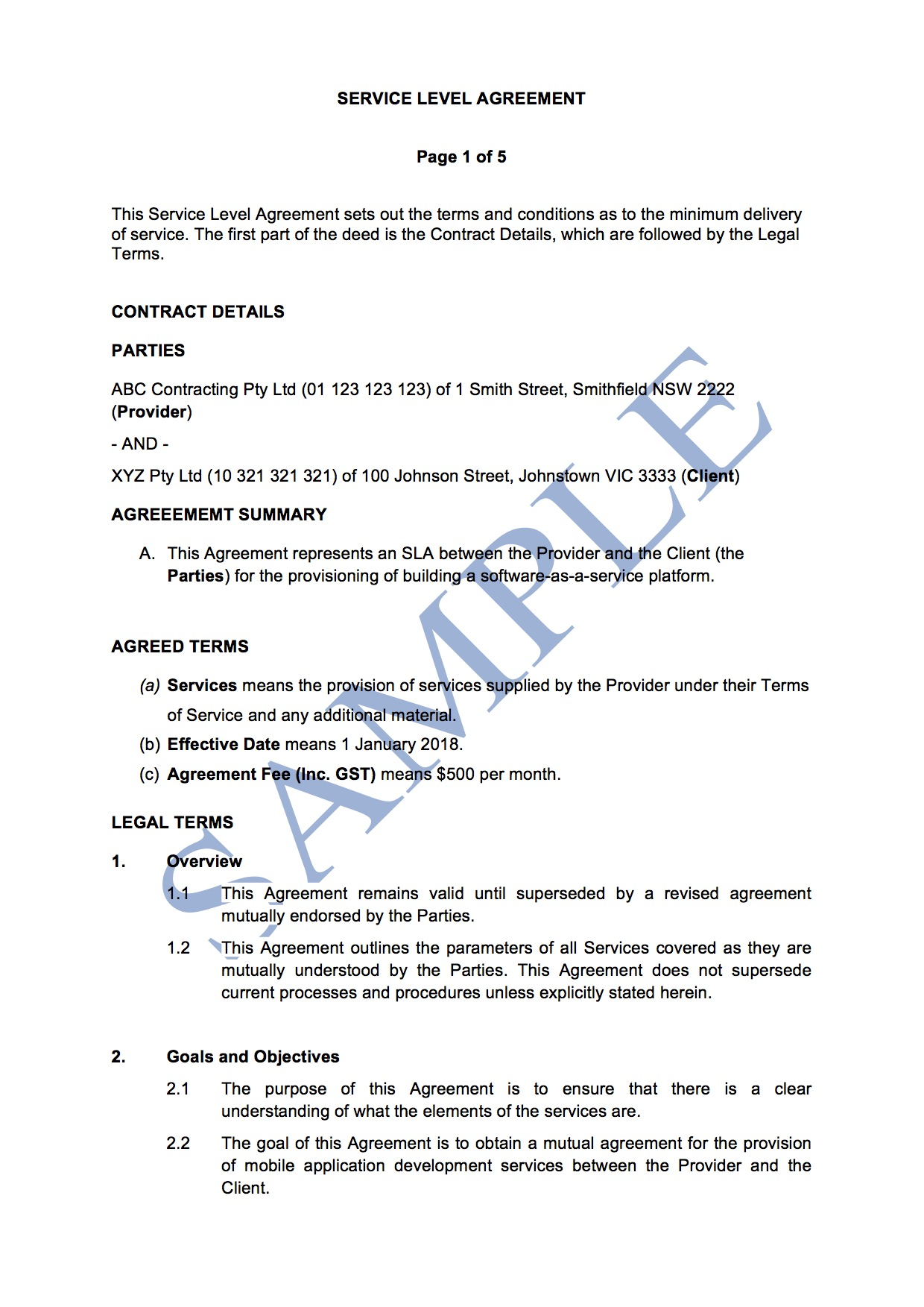 Sample Agreement For Takeover Of Business Service Level Agreement Free Template Sample Lawpath