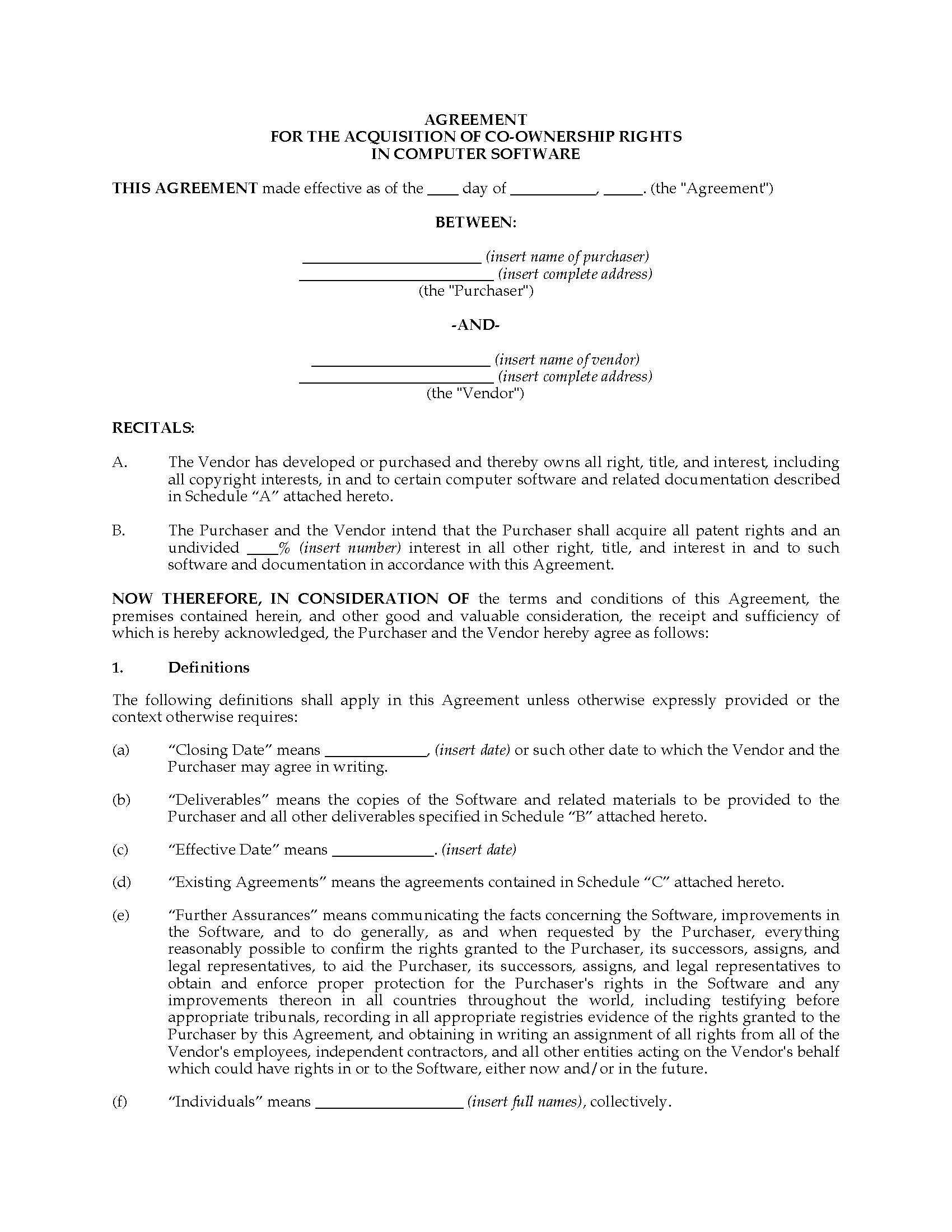Software Agreement Contract Acquisition Agreement For Co Ownership Of Software Canada