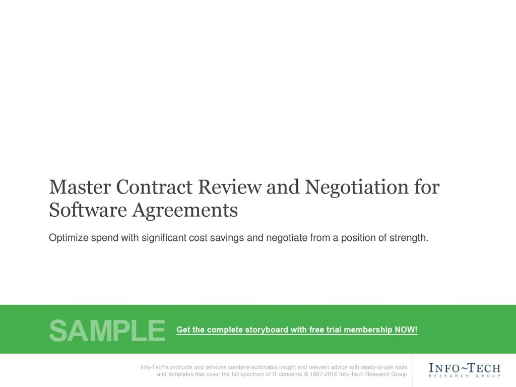 Software Agreement Contract Master Contract Review And Negotiation For Software Agreements Ppt