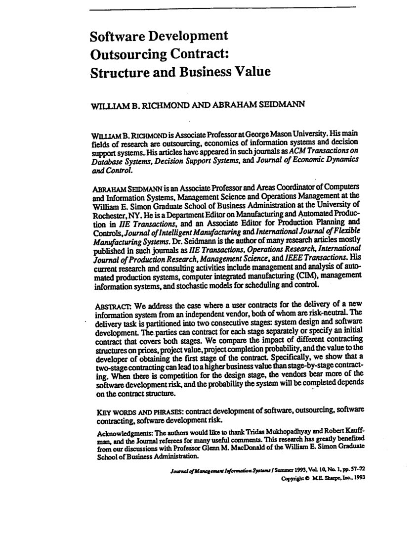 Software Agreement Contract Pdf Software Development Outsourcing Contract Structure And