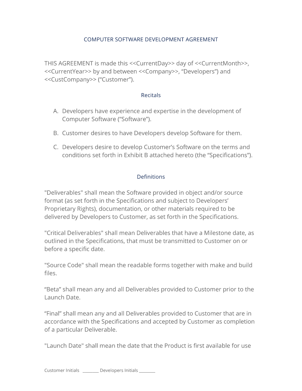 Software Agreement Contract Software Development Contract 3 Easy Steps