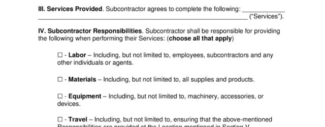 Subcontract Agreement Definition Free Subcontractor Agreement Templates Pdf Word Eforms Free