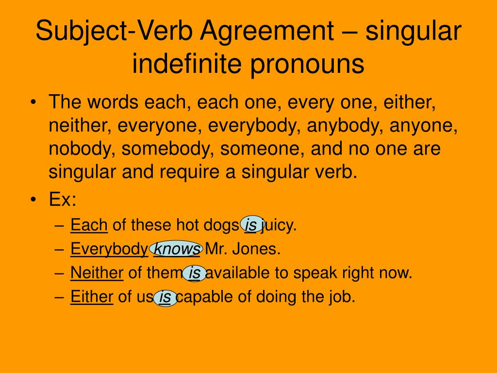 Subject Verb Agreement For Indefinite Pronouns Ppt Subject Verb Agreement Portions Powerpoint Presentation