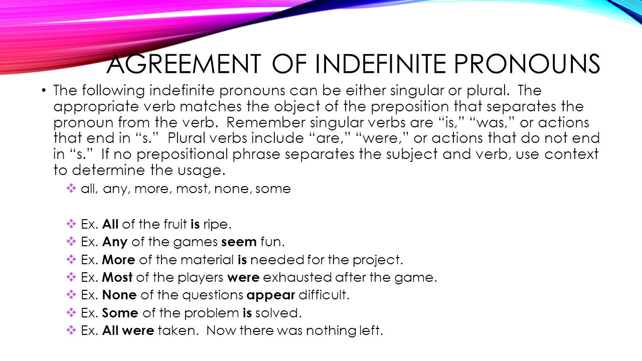 Subject Verb Agreement For Indefinite Pronouns Pronouns Part Three Grade Eight Indefinite Pronouns Indefinite