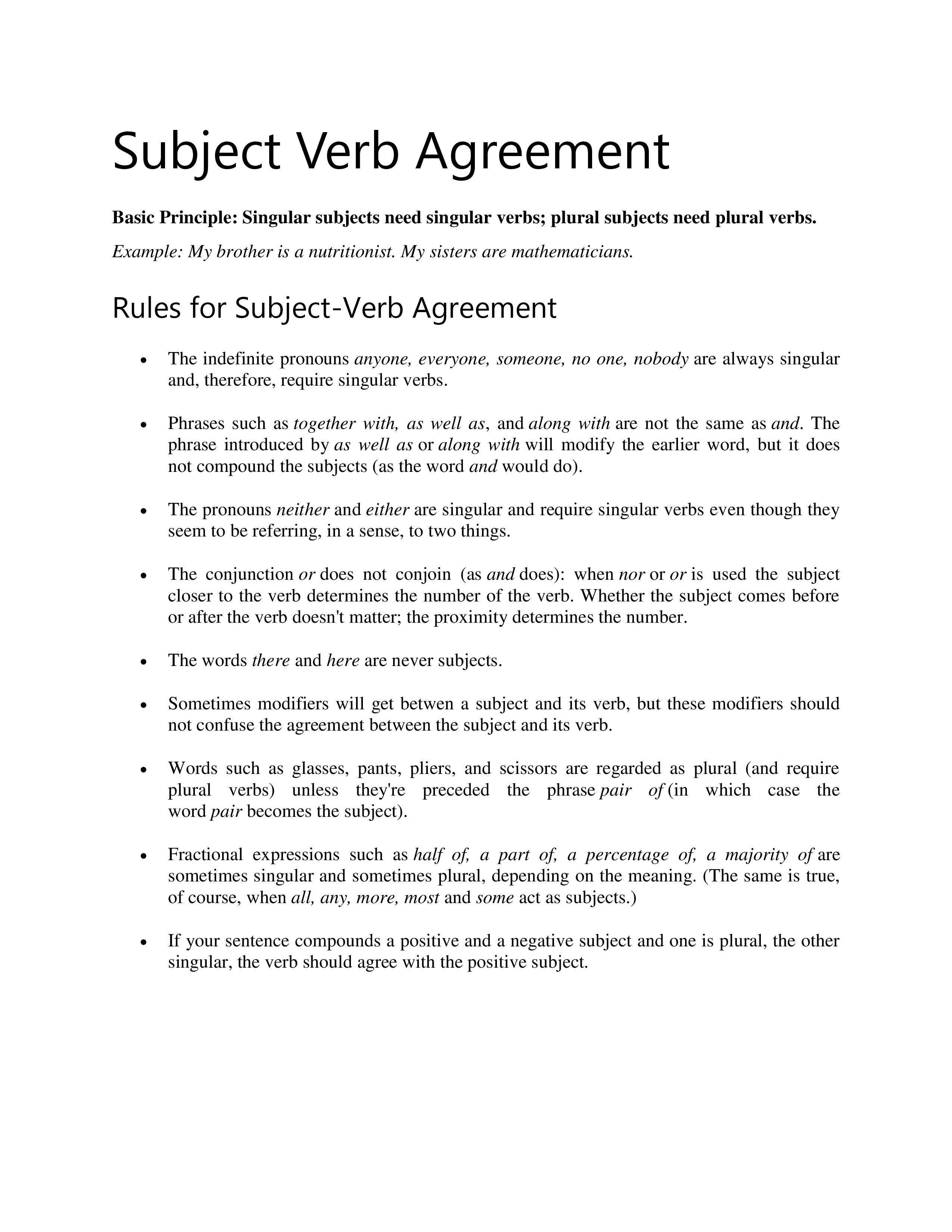 Subject Verb Agreement For Indefinite Pronouns Subject Verb Agreement Notes