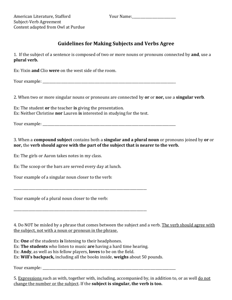 Subject Verb Agreement For Indefinite Pronouns Subject Verb Agreement Worksheet