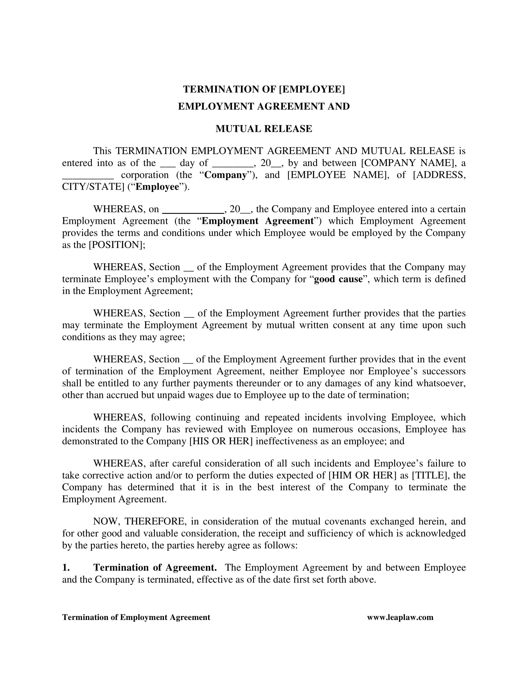 Termination And Mutual Release Agreement 5 Mutual Release Agreement Contract Forms Pdf Doc
