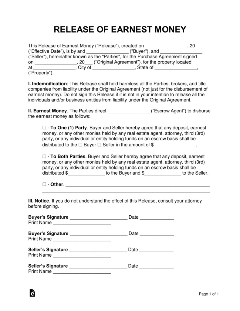 Termination And Mutual Release Agreement Free Release Of Earnest Money Form Word Pdf Eforms Free