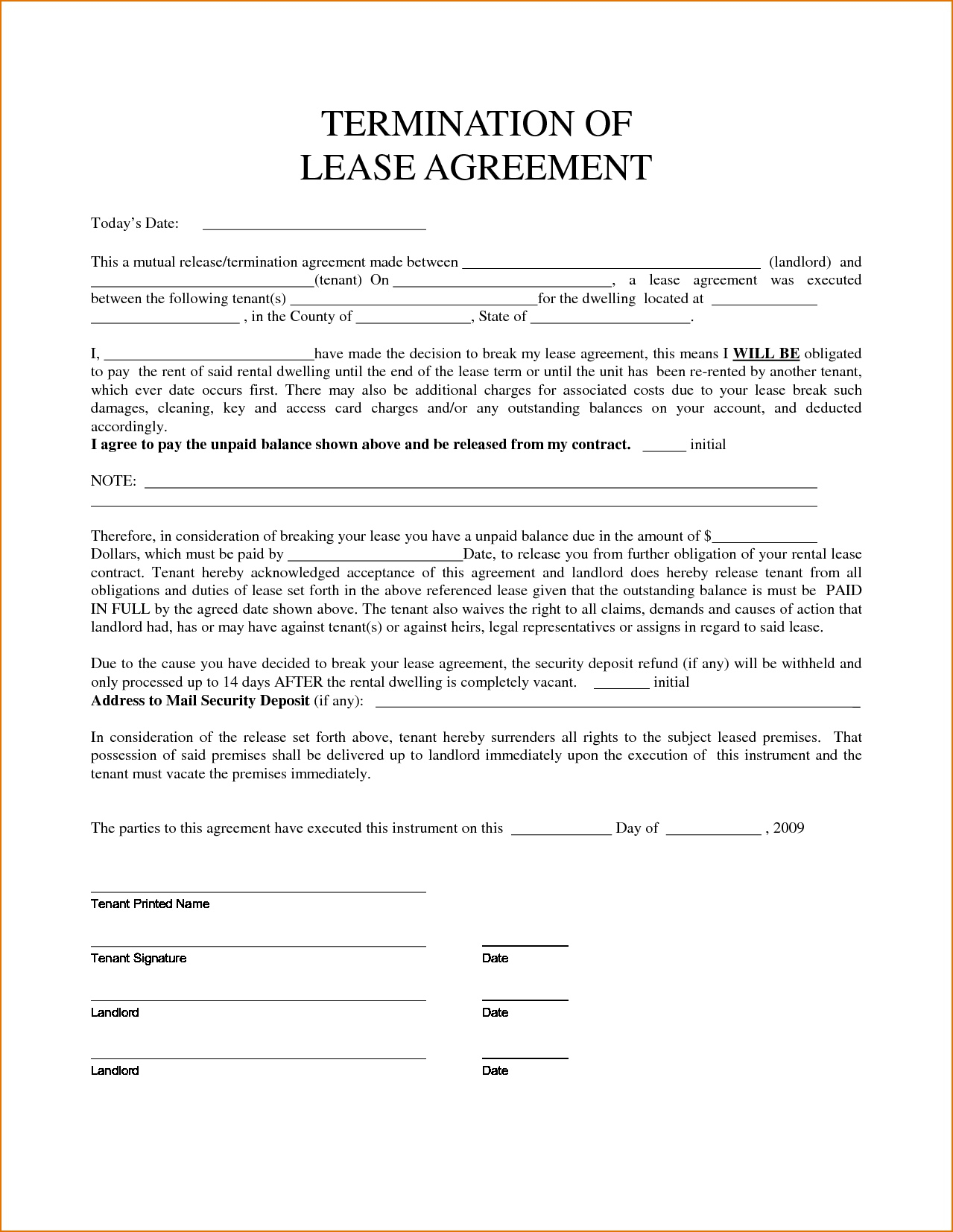 Termination And Mutual Release Agreement Landlord Breach Of Lease Agreement Basic Free Delaware Notice Rental