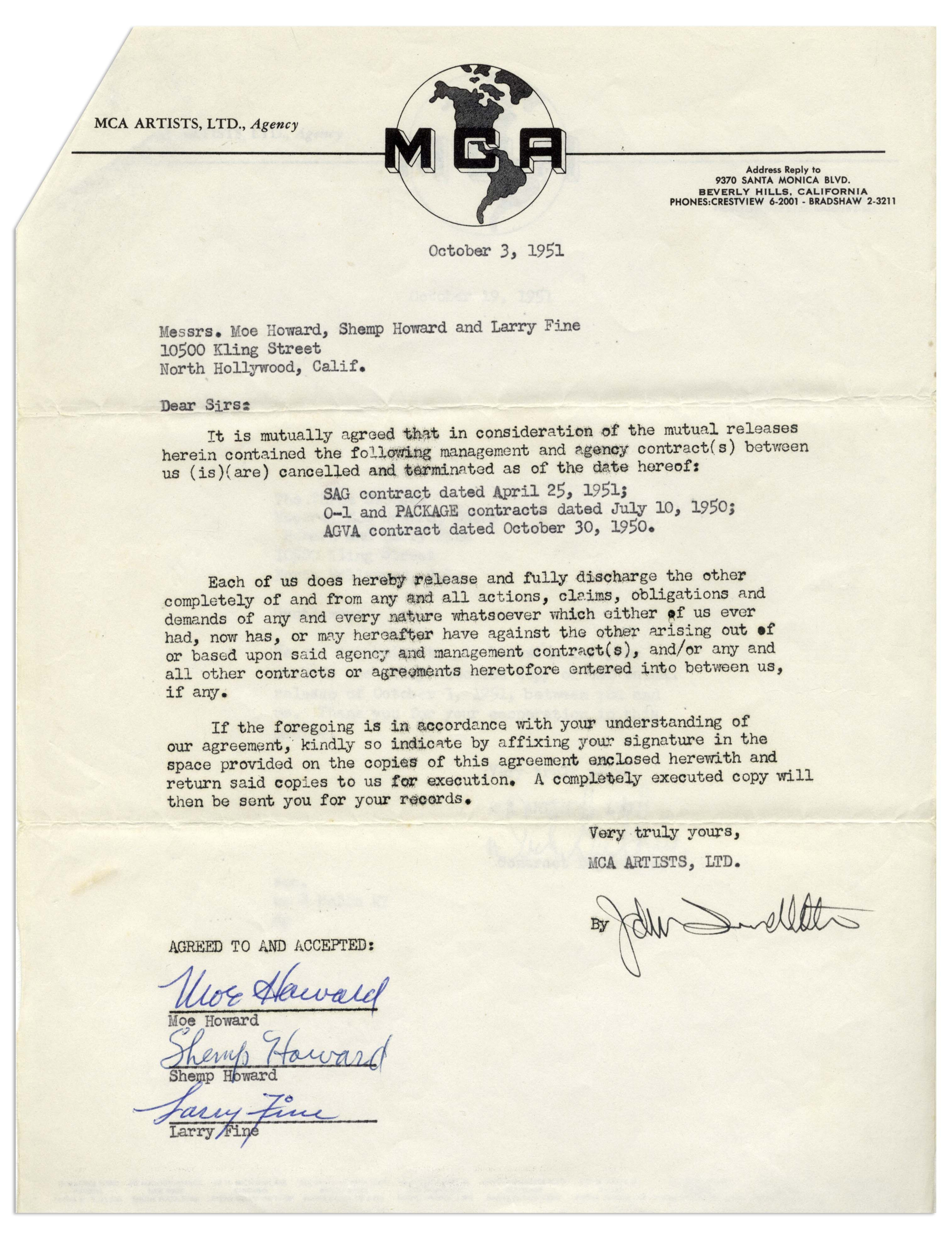 Termination And Mutual Release Agreement Lot Detail Three Stooges Signed Contract Termination From 1951
