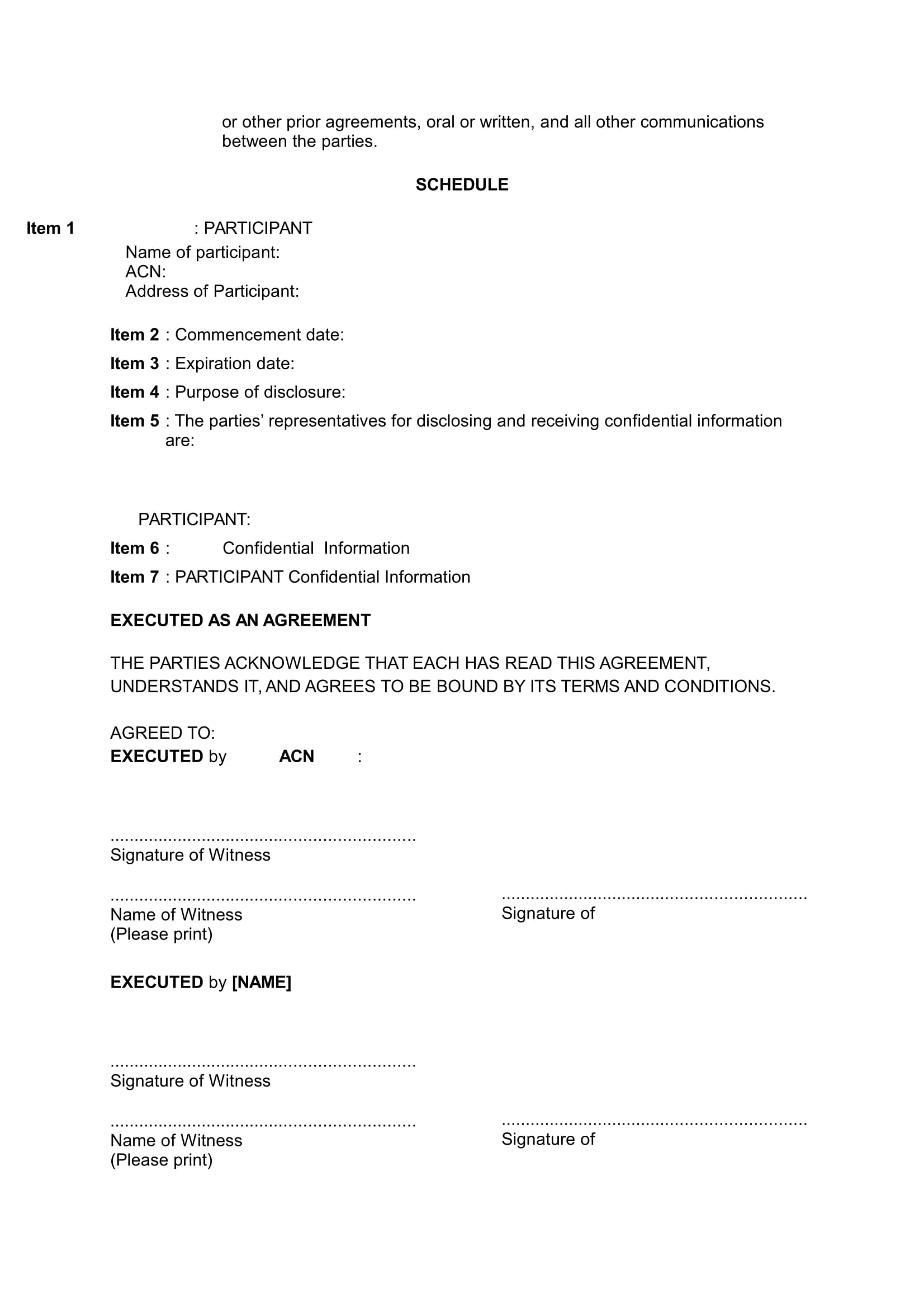 Termination And Mutual Release Agreement Mutual Non Disclosure Agreement With Schedule Precedents Online
