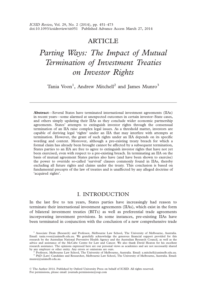 Termination And Mutual Release Agreement Pdf Parting Ways The Impact Of Mutual Termination Of Investment