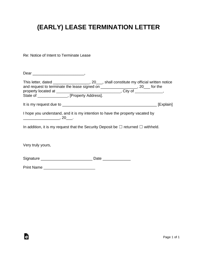 Termination Of Lease Agreement Early Lease Termination Letter Landlord Tenant Eforms Free