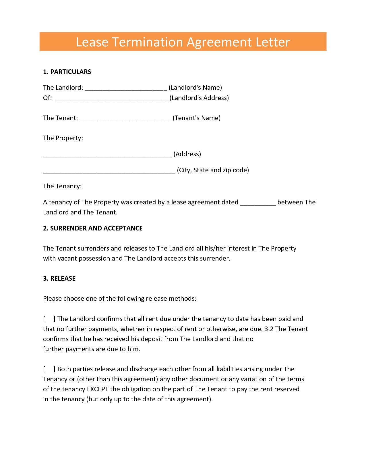 Termination Of Lease Agreement Lease Release Template Beautiful Termination Of Lease Letter Free