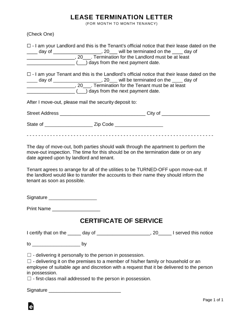 Termination Of Lease Agreement Lease Termination Letters 30 Day Notice To Quit For Landlords And