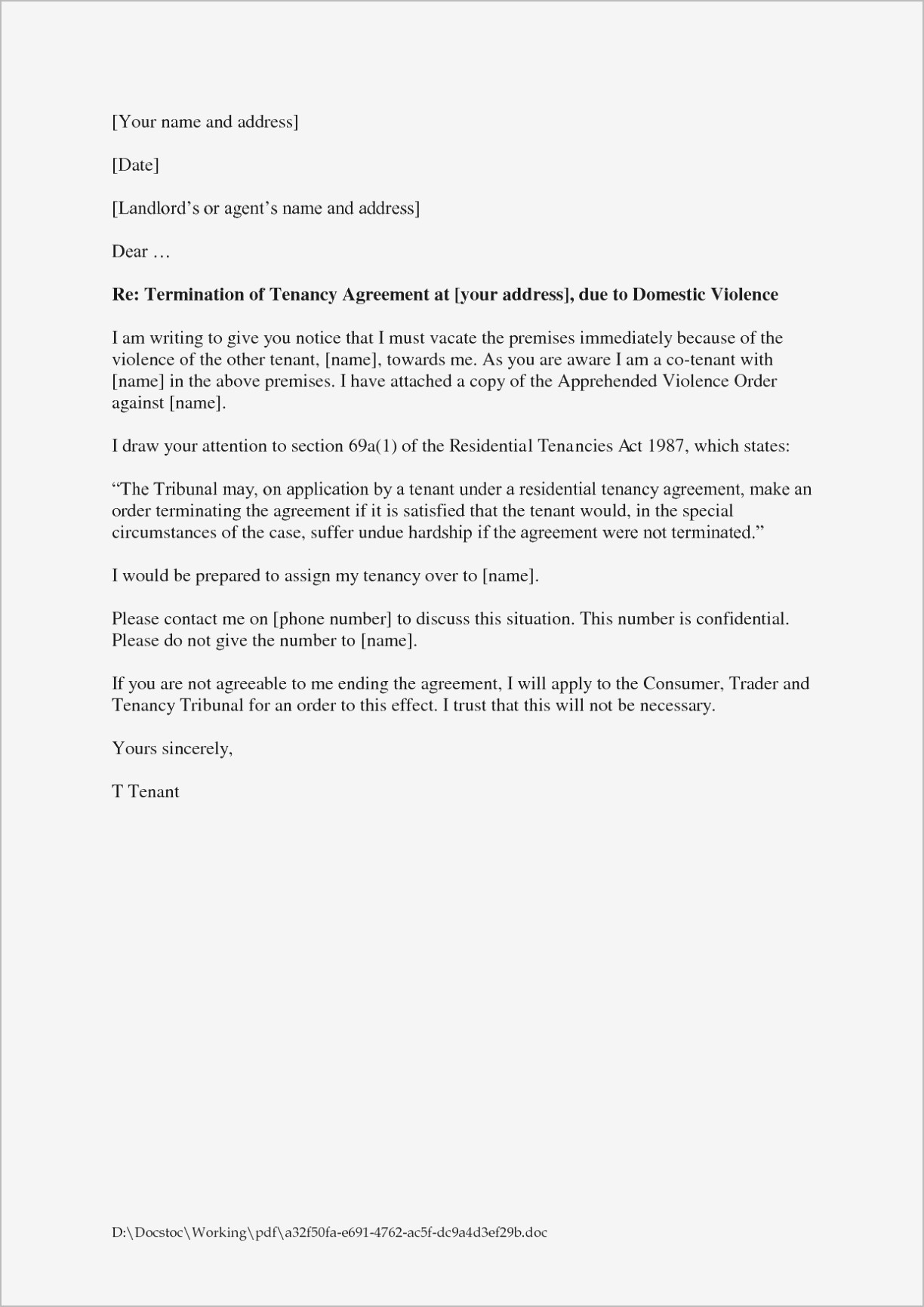 Termination Of Lease Agreement Notice Of Termination Lease Ment Rental Letter Sample From Landlord