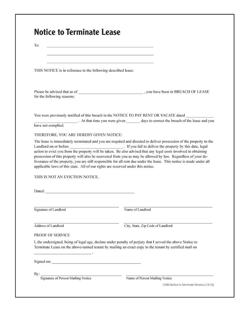 Termination Of Lease Agreement Notice To Terminate Tenancy Forms And Instructions