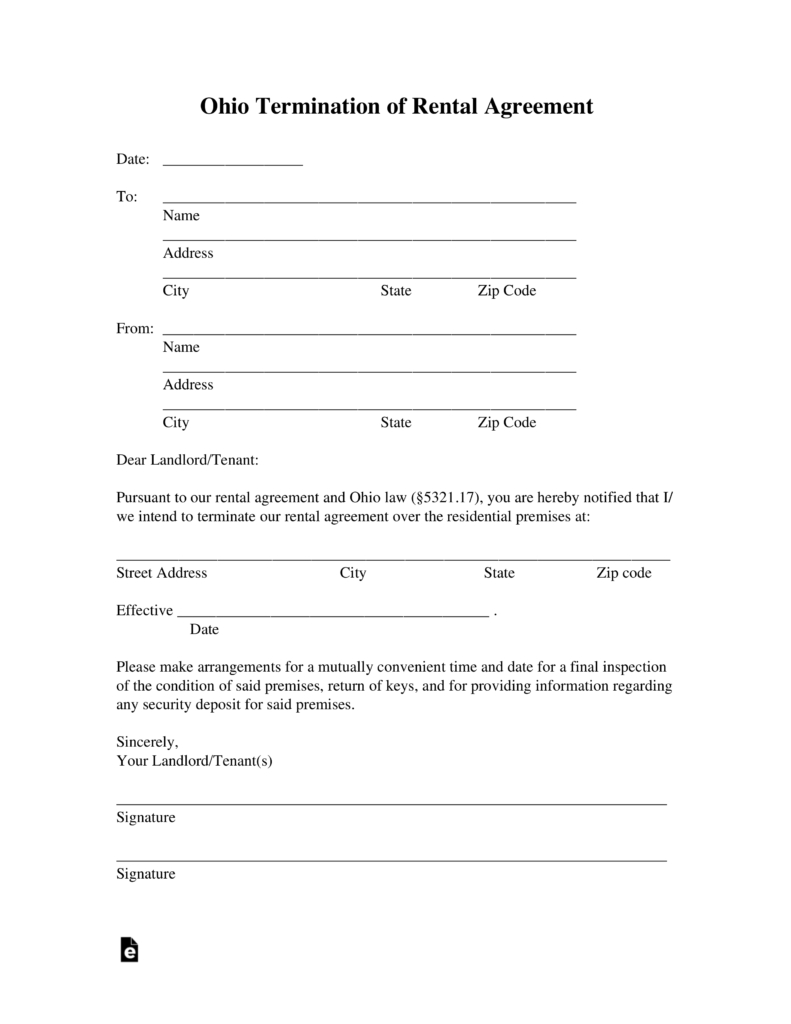 Termination Of Lease Agreement Ohio Lease Termination Letter Form 30 Day Notice Eforms Free