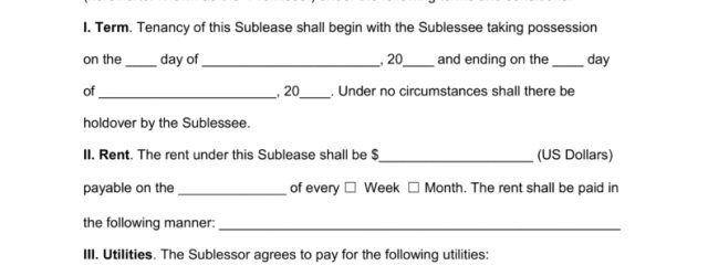 Texas Sublease Agreement Free Texas Sublease Agreement Form Pdf Word Eforms Free