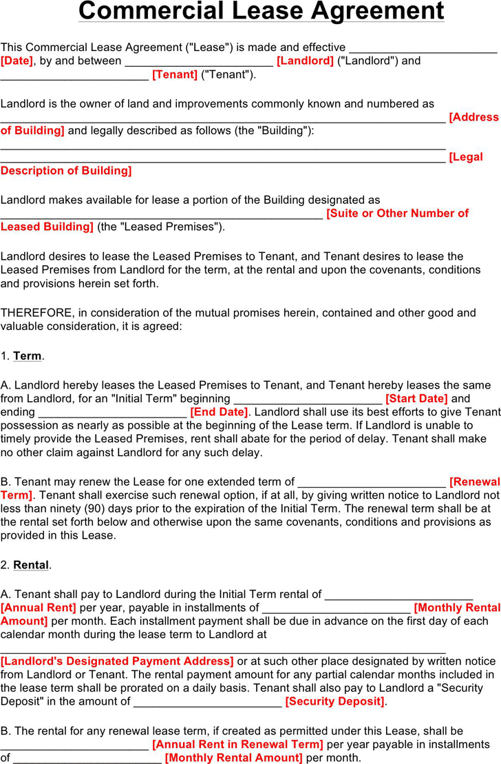 Warehouse Agreement Sample Commercial Lease Agreement Template Free Download Speedy Template