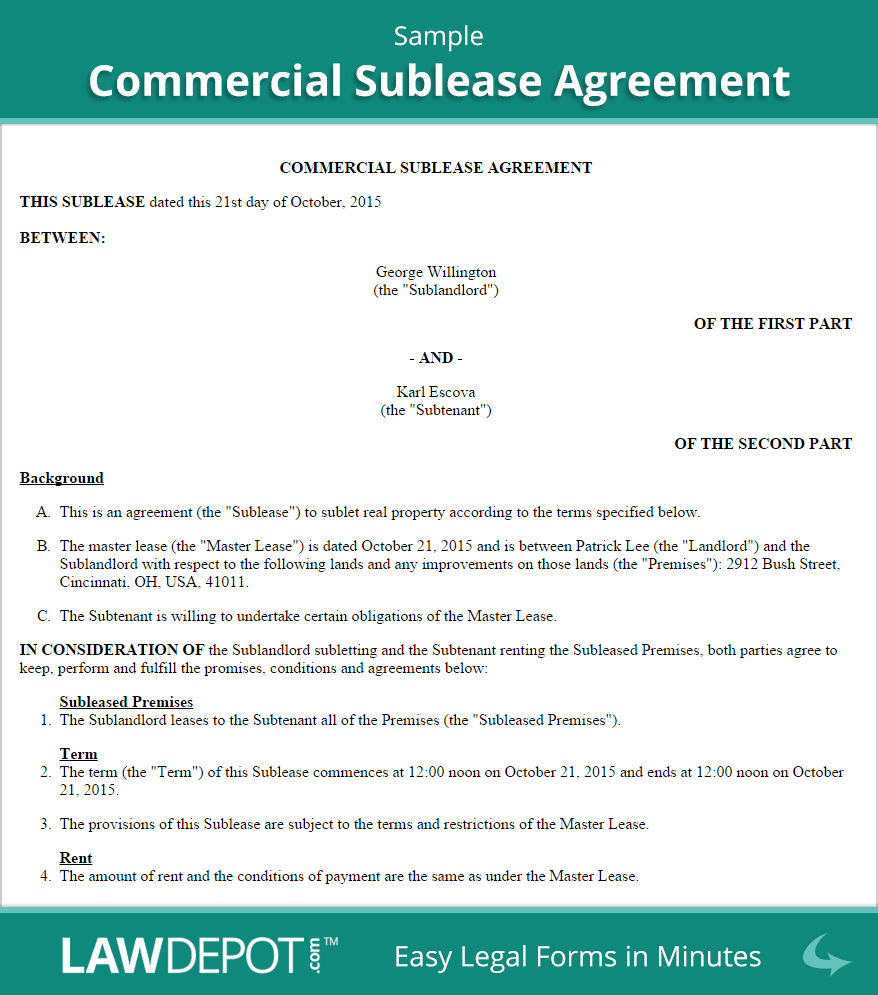 Warehouse Agreement Sample Commercial Sublease Agreement Template Us Lawdepot