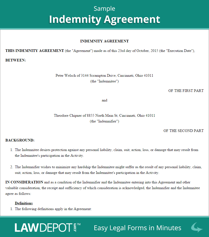 Warehouse Agreement Sample Free Indemnity Agreement Create Download And Print Lawdepot Us