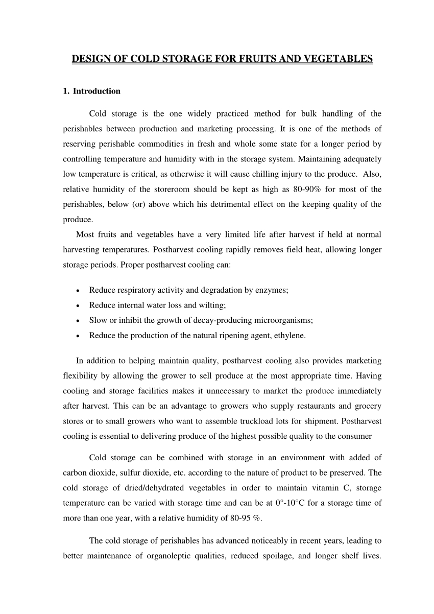 Warehouse Agreement Sample Pdf Design Of Cold Storage For Fruits And Vegetables