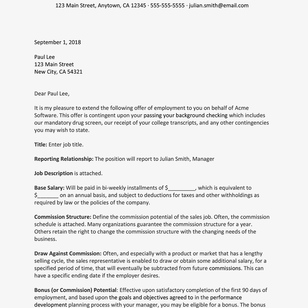 Warehouse Agreement Sample Sales Representative Job Offer Letter Sample