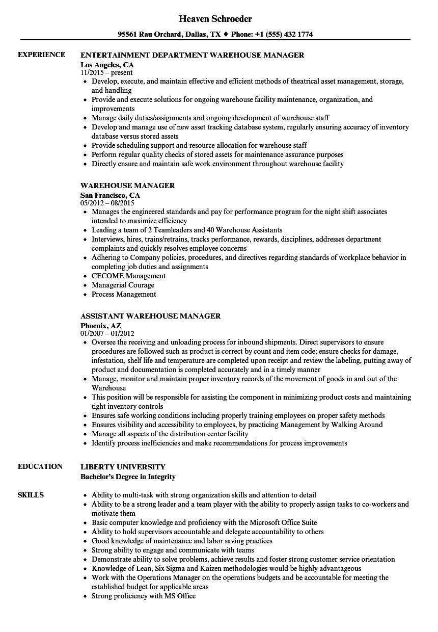 Warehouse Agreement Sample Warehouse Manager Resume Samples Velvet Jobs