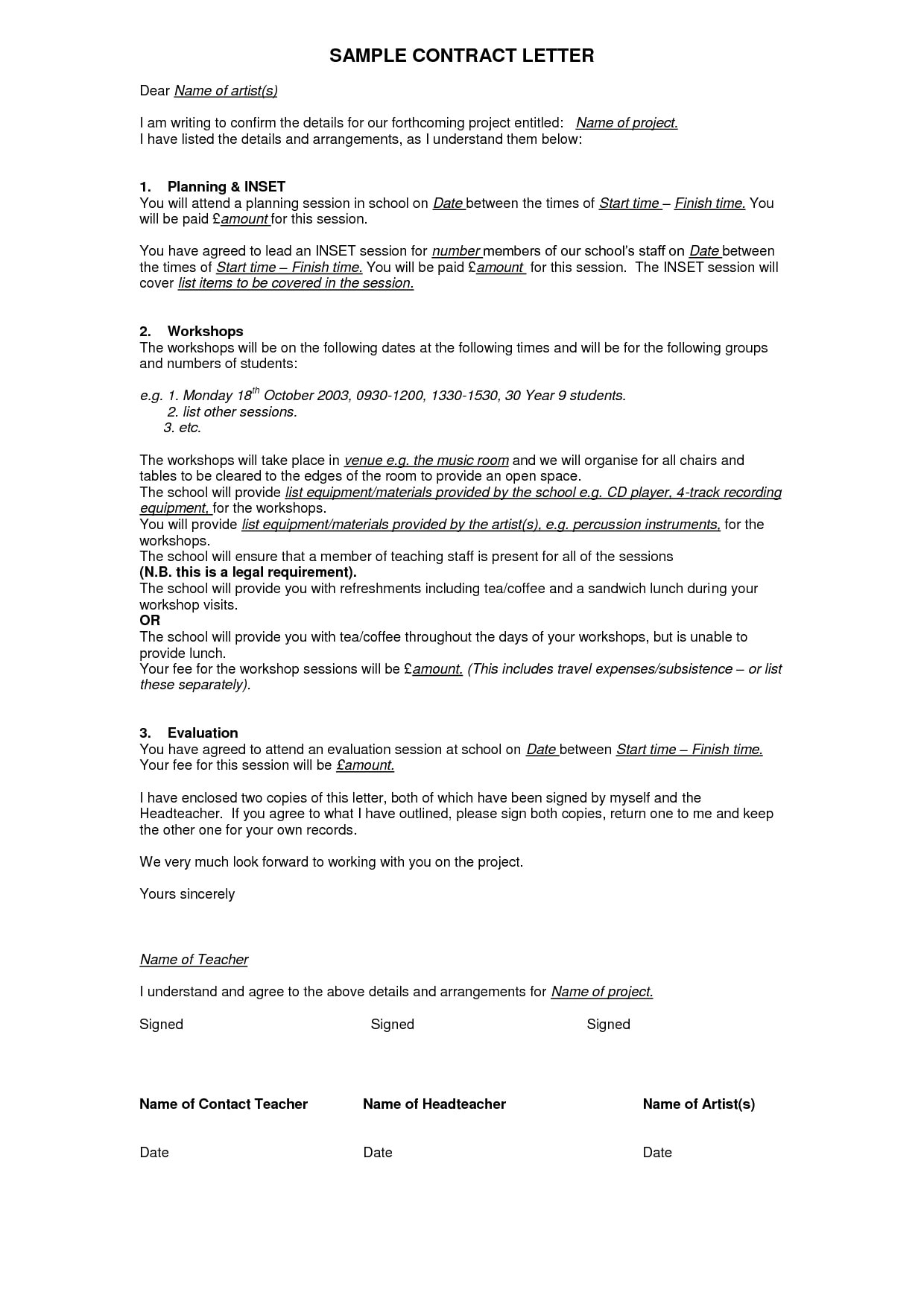 Writing Contract Agreement 9 Contract Agreement Letter Examples Pdf Examples