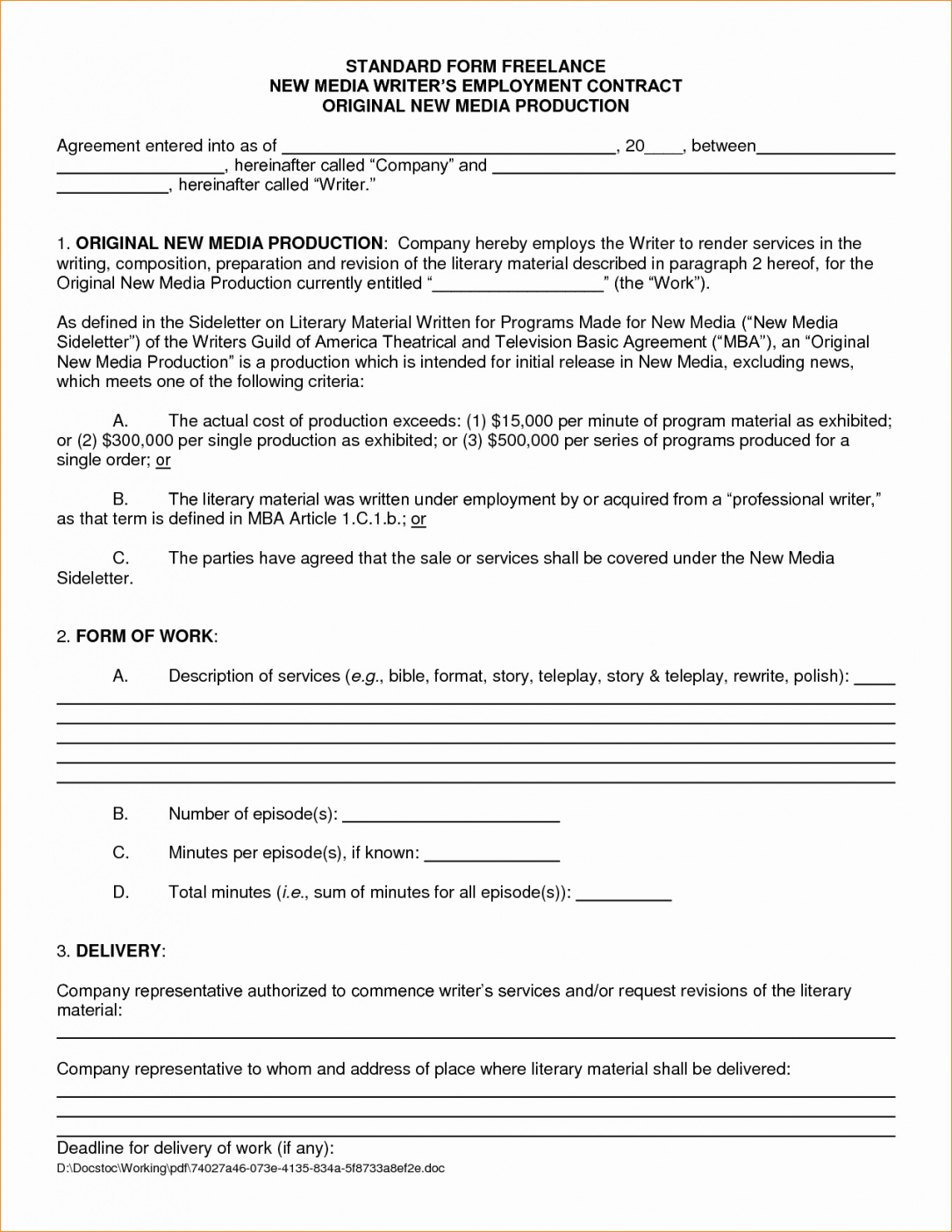 Writing Contract Agreement Freelance Contract Template Luxury Freelance Writer Contract