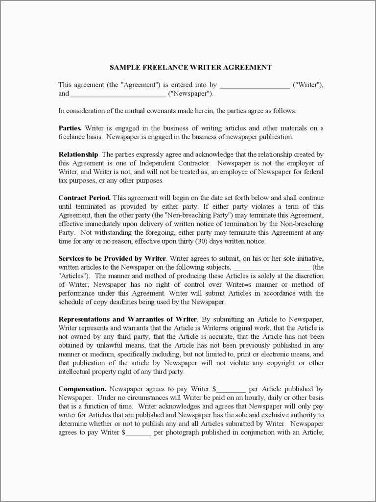 Writing Contract Agreement Freelance Writer Contract Template Ataumberglauf Verband