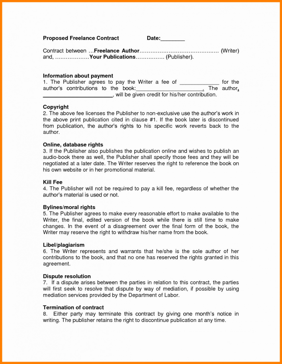Writing Contract Agreement Freelance Writing Contract Template