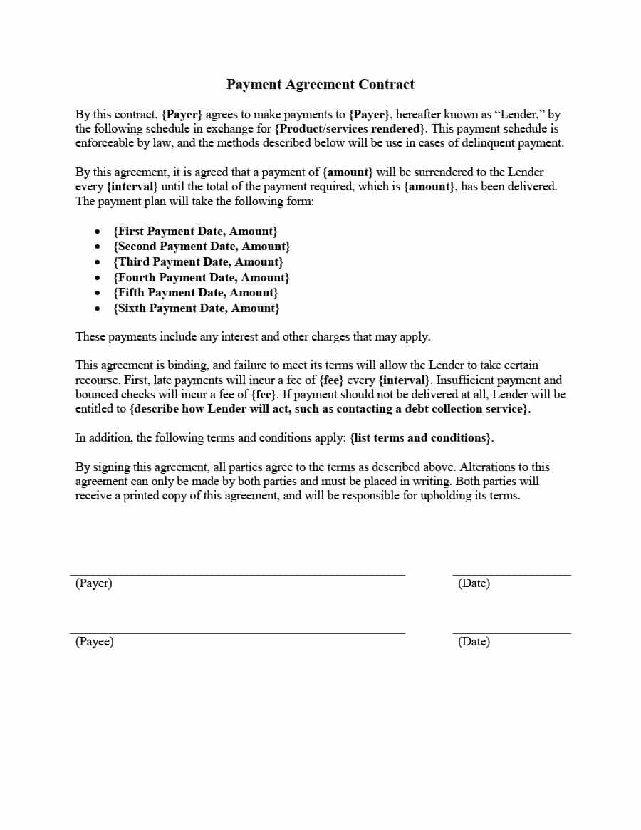 Writing Contract Agreement Payment Agreement 40 Templates Contracts Template Lab