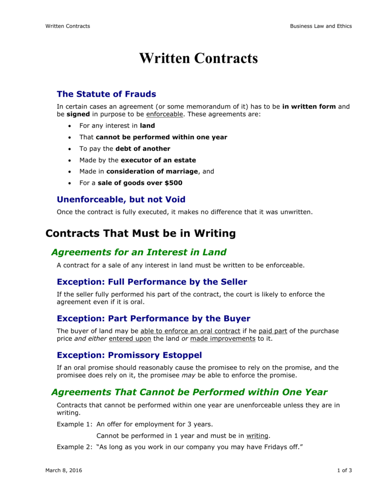 Writing Contract Agreement Written Contracts